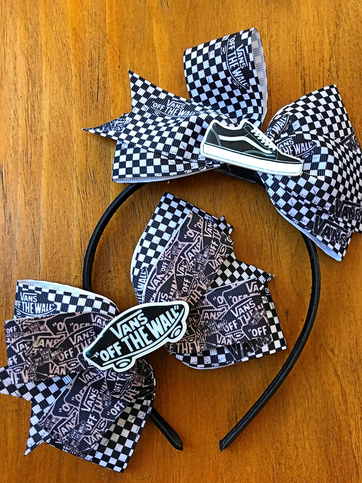 Vintage Vans Inspired Hair bows (Black and White)