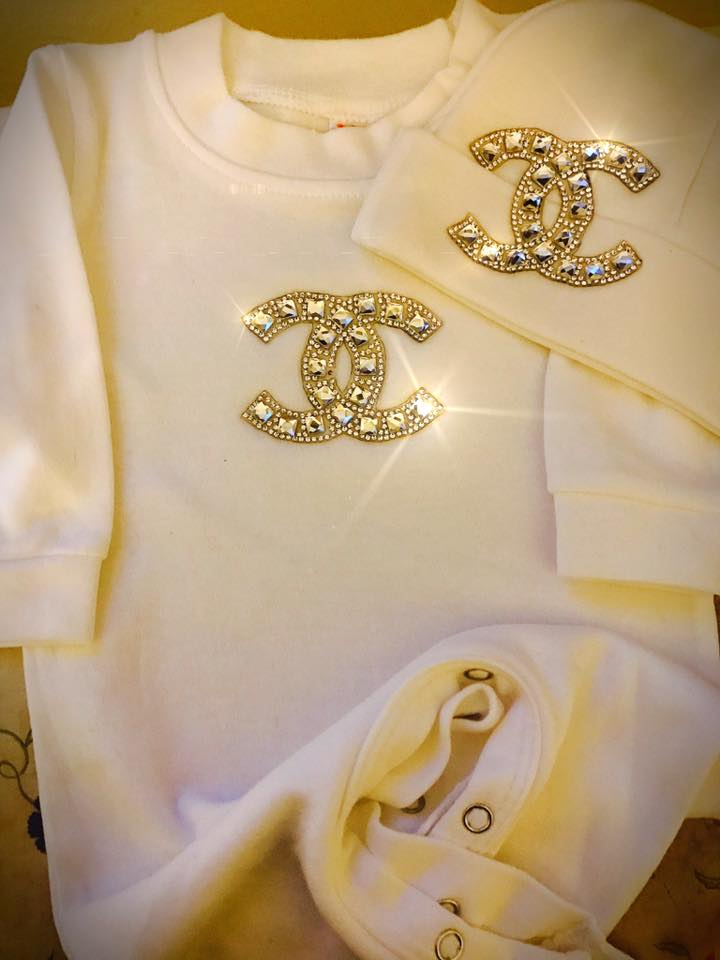 CC Bling - Designer Inspired Chanel Sleep and Play Suit 0/3M