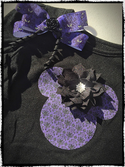 Haunted Mansion inspired, Mickey head shirt and bow.
