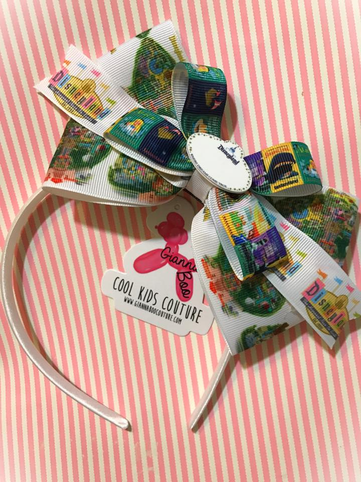 Disneyland Inspired - Vintage Ride Poster Headband Bow